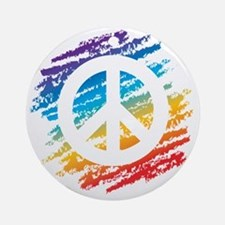 Rainbow Crayon Peace Symbol Round Ornament