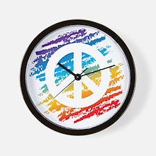 Rainbow Crayon Peace Symbol Wall Clock