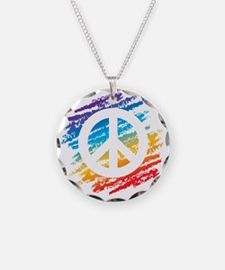 Rainbow Crayon Peace Symbol Necklace