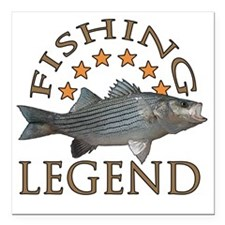 "Fishing legend Striped B Square Car Magnet 3"" x 3"""