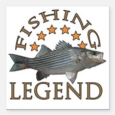"Fishing legend Striped B Square Car Magnet 3"" x 3"""