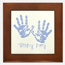 Blue Baby Boy Hands Framed Tile