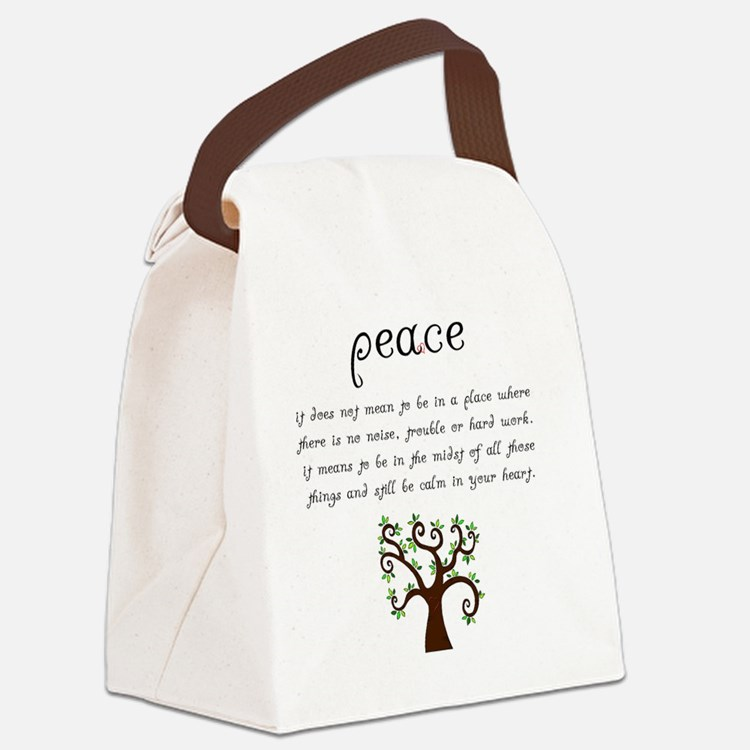 Peace Mantra Canvas Lunch Bag