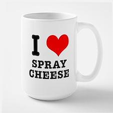 I Heart (Love) Spray Cheese Large Mug