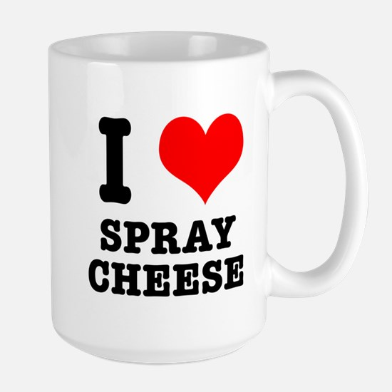 I Heart (Love) Spray Cheese Large Mug