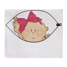Baby Girl Peeking Throw Blanket