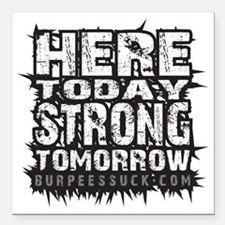 """HERE TODAY - WHITE CAMO Square Car Magnet 3"""" x 3"""""""
