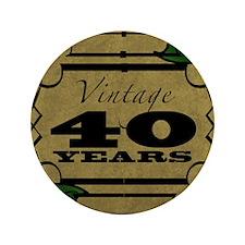 "Vintage 40th Birthday (Gold) 3.5"" Button"