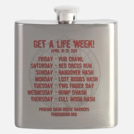 Get a life week t-shirt - back Flask
