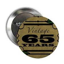 "Vintage 65th Birthday (Gold) 2.25"" Button"