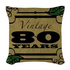 Vintage 80th Birthday (Gold) Woven Throw Pillow