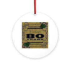 Vintage 80th Birthday (Gold) Round Ornament