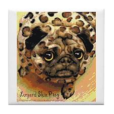 Leopard Skin Pug Tile Coaster