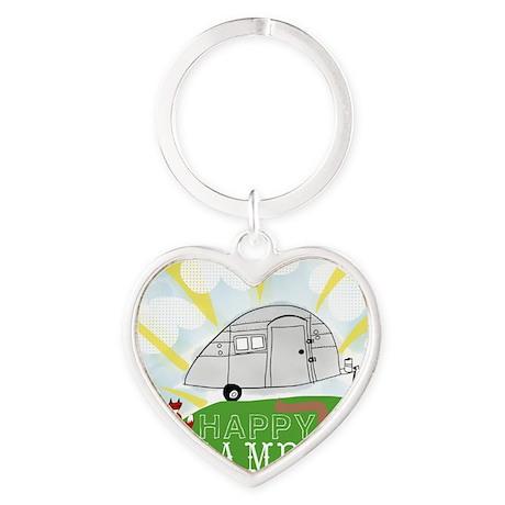 Happy Camper Heart Keychain