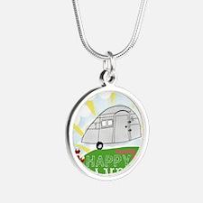Happy Camper Silver Round Necklace