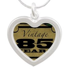 Vintage 85th Birthday (Gold) Silver Heart Necklace