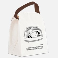Left on Red Canvas Lunch Bag