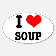 I Heart (Love) Soup Oval Decal