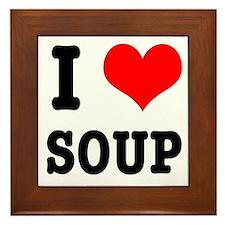 I Heart (Love) Soup Framed Tile