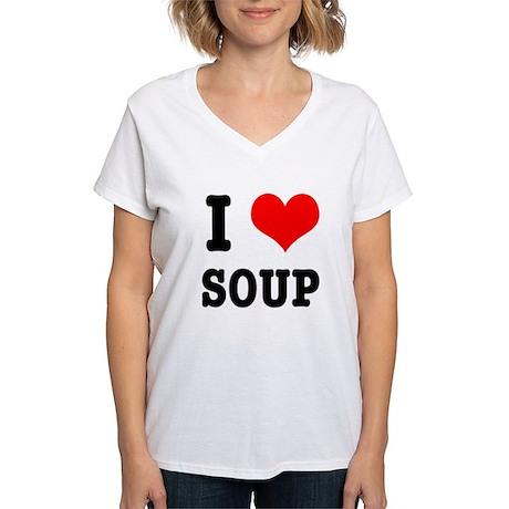 I Heart (Love) Soup Women's V-Neck T-Shirt