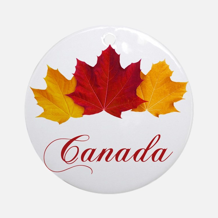 Canadian Maple Leaves Round Ornament