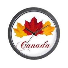 Canadian Maple Leaves Wall Clock