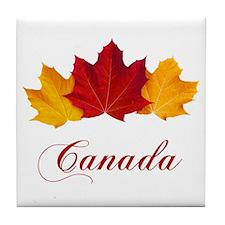 Canadian Maple Leaves Tile Coaster