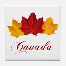 Canadian Maple Leaves Tile Coaster