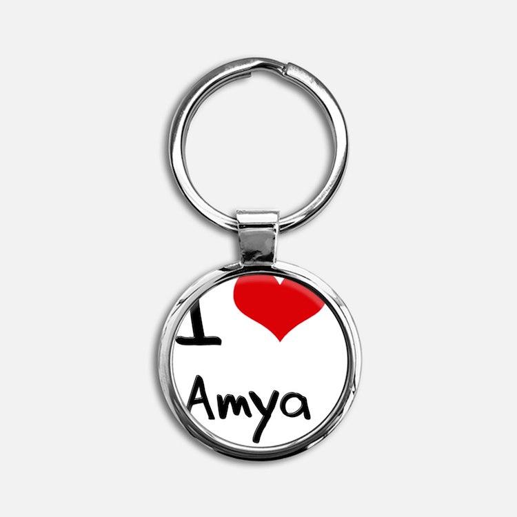 I Love Amya Round Keychain