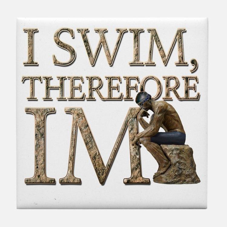 I Swim Therefore IM Tile Coaster