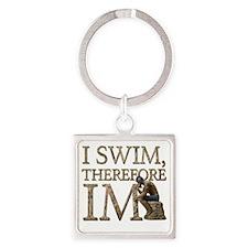 I Swim Therefore IM Square Keychain