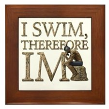I Swim Therefore IM Framed Tile