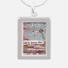 God is Never Far Silver Portrait Necklace