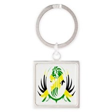 Jamaican Lion Square Keychain