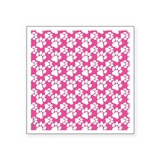 "Dog Paws Bright Pink-Small Square Sticker 3"" x 3"""