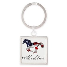 American Horse Square Keychain