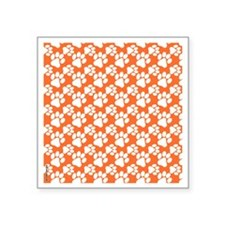 "Dog Paws Clemson Orange-Sma Square Sticker 3"" x 3"""