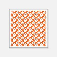 """Dog Paws Clemson Orange-Sma Square Sticker 3"""" x 3"""""""