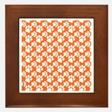 Dog Paws Clemson Orange-Small Framed Tile