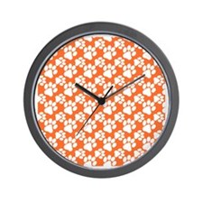 Dog Paws Clemson Orange-Small Wall Clock