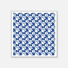 "Dog Paws Royal Blue-Small Square Sticker 3"" x 3"""