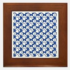 Dog Paws Royal Blue-Small Framed Tile