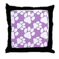 Dog Paws Light Purple Throw Pillow