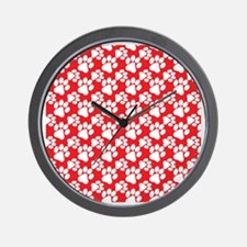 Dog Paws Red-Small Wall Clock