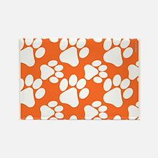 Dog Paws Clemson Orange Rectangle Magnet