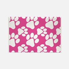 Dog Paws Bright Pink Rectangle Magnet
