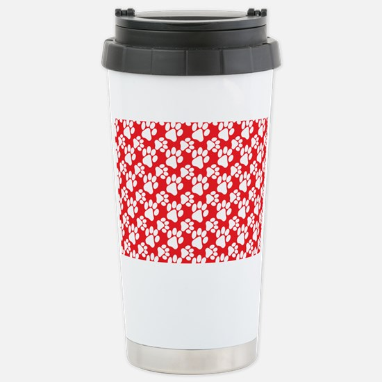 Dog Paws Red-Small Stainless Steel Travel Mug