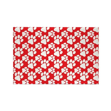 Dog Paws Red-Small Rectangle Magnet