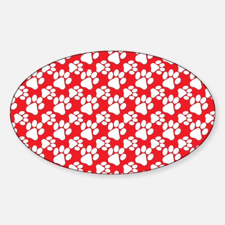 Dog Paws Red-Small Decal