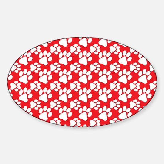 Dog Paws Red-Small Sticker (Oval)